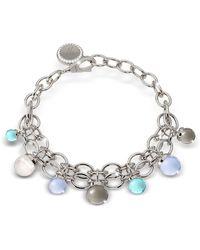 Rebecca - Hollywood Stone Rhodium Over Bronze Chains Bracelet W/hidrothermal Stones - Lyst