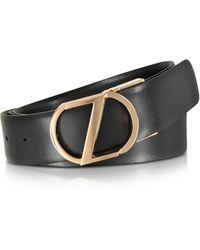 Ermenegildo Zegna - Black Leather Reversible & Adjustable Belt W/rose Gold-tone Signature Buckle - Lyst