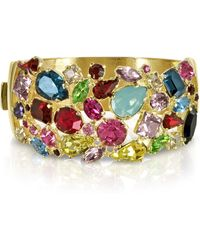 Forzieri | Gold Plated Metal Bangle W/crystals | Lyst