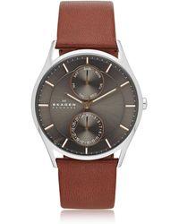 Skagen - Holst Multifunction Leather Men's Watch - Lyst