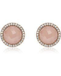 Fossil - Pink Stone Rose Gold Tone Stud Women's Earrings - Lyst