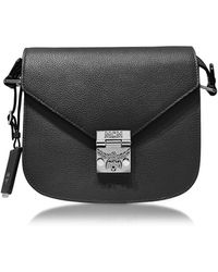 MCM - Patricia Park Avenue Black Leather Small Shoulder Bag - Lyst