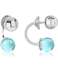 Rebecca - Boulevard Stone Rhodium Over Bronze Double Ball Drop Earrings W/turquoise Hydrothermal Stone - Lyst