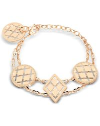Rebecca - Melrose Yellow Gold Over Bronze Bracelet W/geometric Charms - Lyst