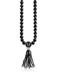 Thomas Sabo - Power Necklace Black Sterling Silver Men's Long Necklace W/obsidian Matt & Polished Beads And Tassel - Lyst