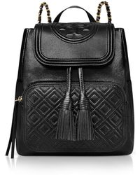 Tory Burch - Black Quilted Leather Fleming Backpack - Lyst