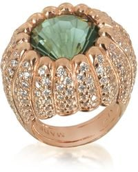 Azhar - Rose Sterling Silver Riccio Ring W/white Cubic Zirconia And Green Stone - Lyst