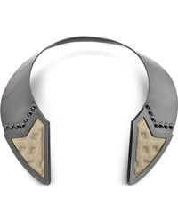 Avril8790 - Inverted Ruthenium Plated Brass And Golden Viscose Collar Necklace W/studs - Lyst