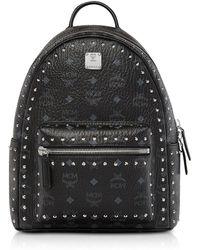 MCM - Small Black Studded Outline Visetos Stark Backpack - Lyst