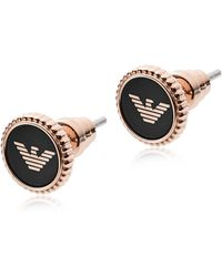 Emporio Armani - Rose Gold Stainless Steel And Black Enamel Signature Women's Earrings - Lyst