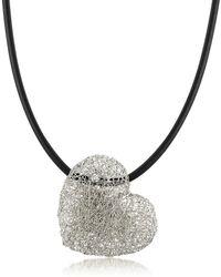 Orlando Orlandini - Woven White Gold Heart Pendant Necklace W/diamond - Lyst