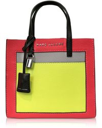 Marc Jacobs - Grainy Leather The Mini Grind Colorblocked Tote Bag - Lyst 2e2c9778947f9