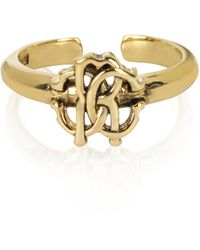 Roberto Cavalli - Polished Goldtone Rc Icon Ring - Lyst