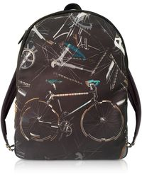Paul Smith - Black Canvas Bike Print Backpack - Lyst