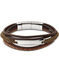 Fossil - Vintage Casual Dark Brown Multi-strand Men's Bracelet - Lyst
