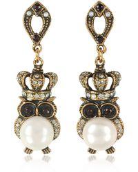 Alcozer & J - Crowned Owl Earrings W/pearls - Lyst