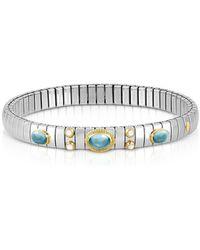 Nomination - Stainless Steel Women's Bracelet W/light Blue Topaz Oval Beads - Lyst