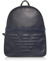 1f46e6918ea6 Emporio Armani - Sac à Dos Homme en Éco Cuir Noir avec Logo Aigle en Relief