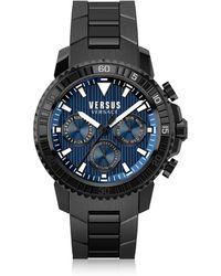 Versus - Aberdeen Black Stainless Steel Men's Chronograph Watch w/Blue Dial - Lyst