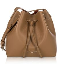 Lancaster Paris - Pur And Element Foulonné Camel/pumpkin Small Bucket Bag - Lyst