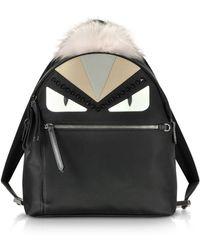Fendi - Black And Peonia Bugs Eyes Nylon And Fur Backpack - Lyst