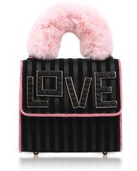 Les Petits Joueurs - Baby Alex Black Widow Fur Handle Satchel Bag - Lyst