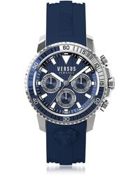 Versus - Aberdeen Silver Stainless Steel Men's Chronograph Watch W/blue Silicone Strap - Lyst