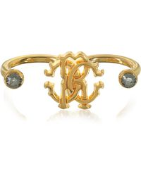 Roberto Cavalli - Goldtone Metal Two Fingers Ring - Lyst