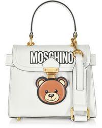 f2f0ffaae432 Moschino - White Leather Teddy Bear Satchel Bag - Lyst
