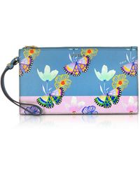 Furla - Butterfly Printed Toni Veronica Saffiano Leather Babylon Xl Envelope Clutch - Lyst