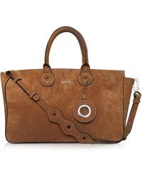 Carven - Large Cognac Suede Tote Bag W/shoulder Bag - Lyst