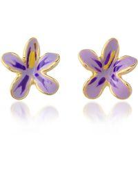 AZ Collection - Garden Line - Purple Enamel Flower Earrings - Lyst