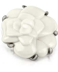 AZ Collection - White Camelia Flower Brooch - Lyst