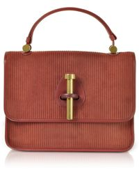 Rodo - Striped Suede And Leather Satchel Bag - Lyst