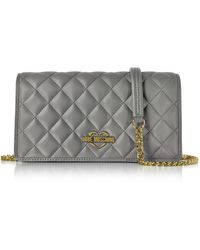 Love Moschino - Grey Superquilted Eco-leather Clutch W/shoulder Strap - Lyst