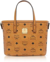 MCM - Anya Cognac Top Zip Mini Tote Bag - Lyst