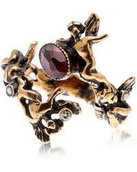 Alcozer & J - Amorino Golden Brass Ring W/gemstones - Lyst