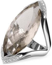 FORZIERI - Smokey Quartz And Diamond White Gold Fashion Ring - Lyst