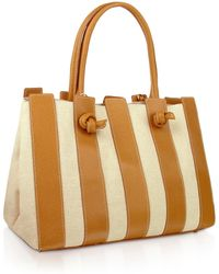 Fontanelli - Canvas & Leather Italian Tote Handbag - Lyst