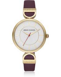 Armani Exchange - Brooke Gold Tone Aubergine Women's Watch - Lyst