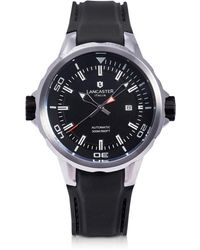 Lancaster - Space Shuttle Automatic Stainless Steel And Black Silicon Men's Watch - Lyst