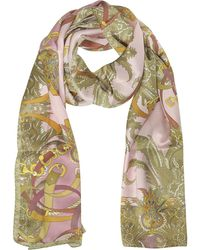 Mila Schon - Ornamental And Pattern Printed Satin Silk Stole - Lyst
