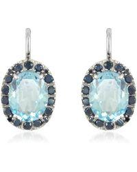 FORZIERI - 0.58 Ct Diamond Pave 18k Gold Earrings W/blue Topaz - Lyst