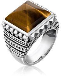 Thomas Sabo - Blackened 925 Sterling Silver Skulls Brown Tiger Eye Ring - Lyst