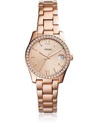 Fossil - Scarlette Three-hand Date Rose Tone Women's Watch - Lyst