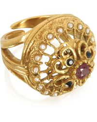 Alcozer & J - Mandala Ring W/stones & Pearls - Lyst