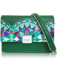 Emilio Pucci - Emerald Green Optical Printed Leather Shoulder Bag - Lyst