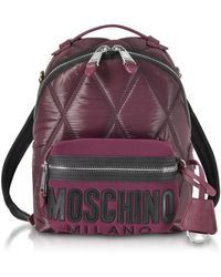 Moschino - Quilted Nylon Signature Backpack - Lyst