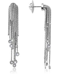Orlando Orlandini - Flirt - Diamond Drops 18k White Gold Earrings - Lyst