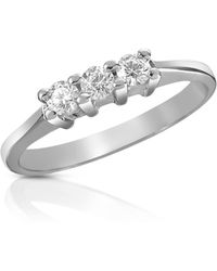 FORZIERI - 0.10 Ct Three-stone Diamond 18k Gold Ring - Lyst